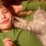 肉球でもみもみ!!少年のほっぺにマッサージをする猫