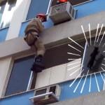 マンションの6階で動けなくなった猫!!消防士たちの懸命な救助活動により命を取り留める