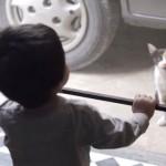赤ちゃんと息の合った掛け合いをする猫