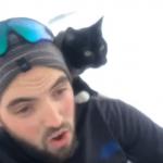 バランス感覚に拍手!飼い主さんと肩乗り愛猫の仲良しソリ滑りタイム