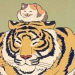小さなネコ先輩を慕う大きなトラ後輩のイラストがほっこり可愛い!