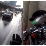 交通量の多い車道ど真ん中にうずくまる黒い子猫をライダーが間一髪で救出!